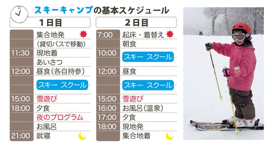 2020冬休みスキーキャンプのタイムスケジュール